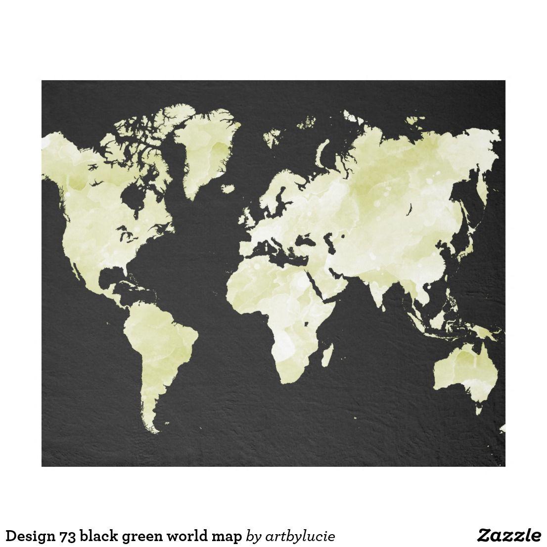 Design 73 black green world map fleece blanket blanket and tapestry design 73 black green world map fleece blanket gumiabroncs Images