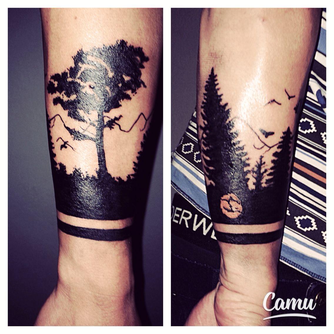 Tatouage Foret Graphique Noir Avant Bras Tatouages Tattoos Tatt
