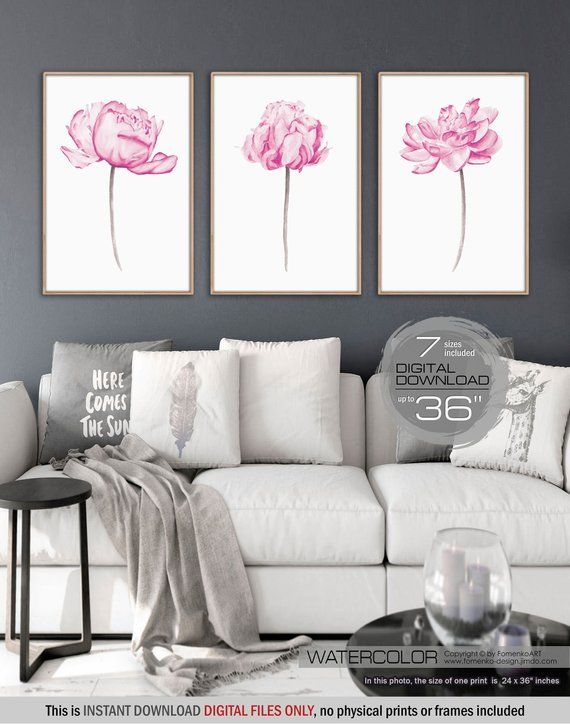 Wall Art Sets For Living Room Pictures Uk Printable Nursery Decor Girl 3 Extra Large Pink Peonies Set Of Flower Prints Downloadable De