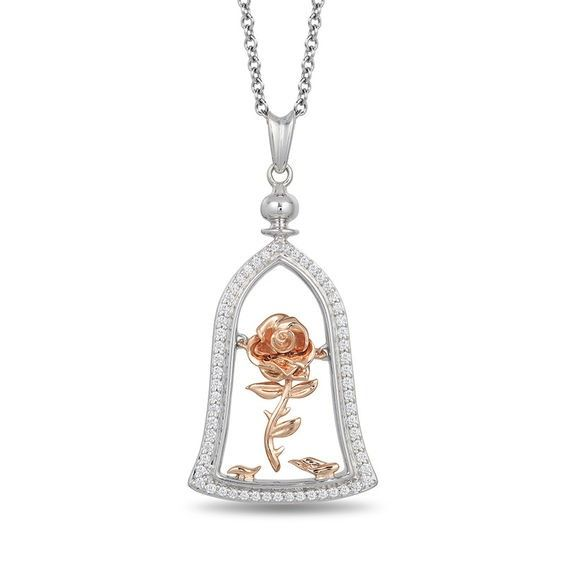 Enchanted Disney Belle 1 5 Ct T W Diamond Rose In Dome