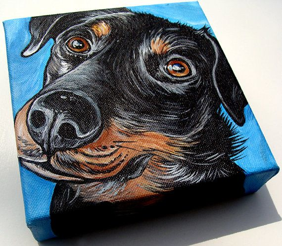 CUSTOM 6x6 dog art painting from your photo by WOOFFactory on Etsy