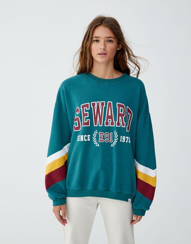 Sweatshirt Text Paneler Arm Pull Bear Ropa Americana Ropa Ropa Tumblr