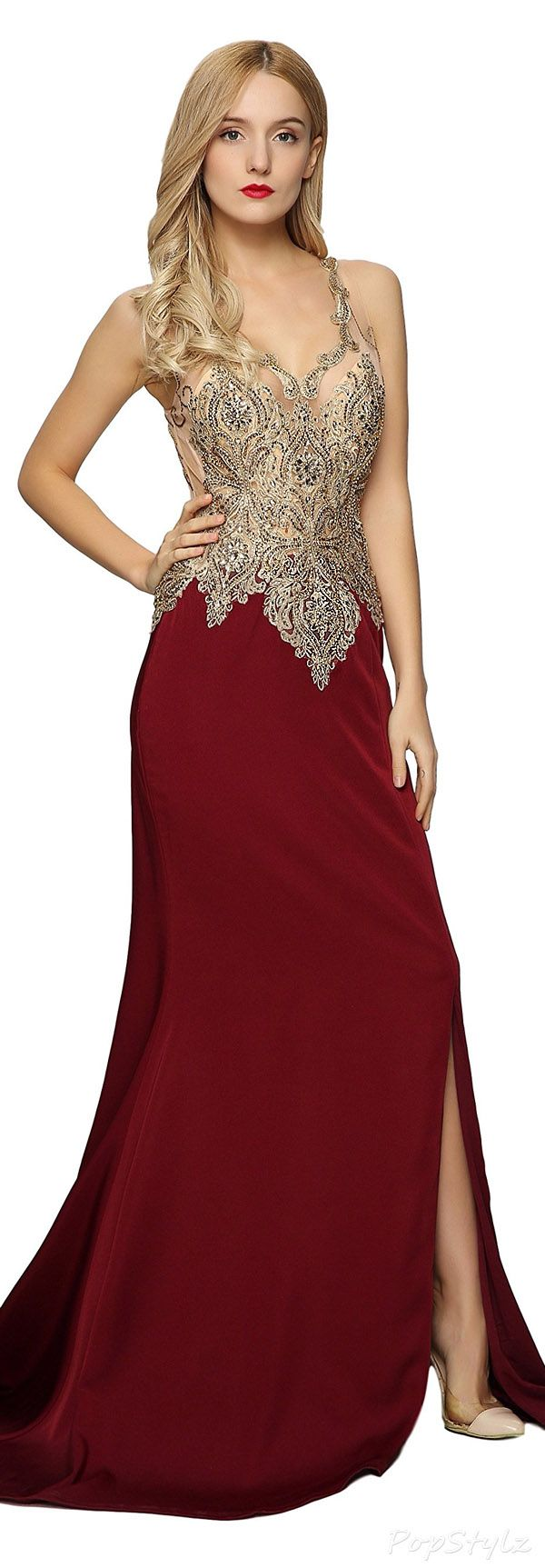 Meier Beaded Embroidered Sleeveless Evening Gown | Clothes for Gals ...