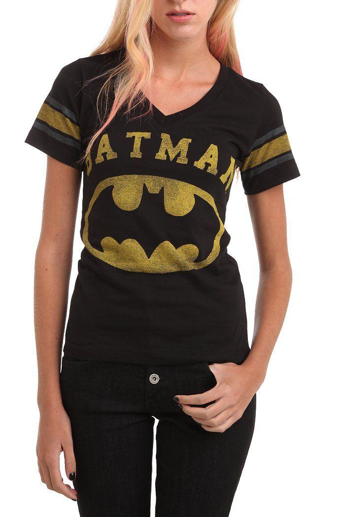 bc553705 DC Comics Batman Logo Varsity V-Neck Girls T-Shirt | Nerd Alert ...