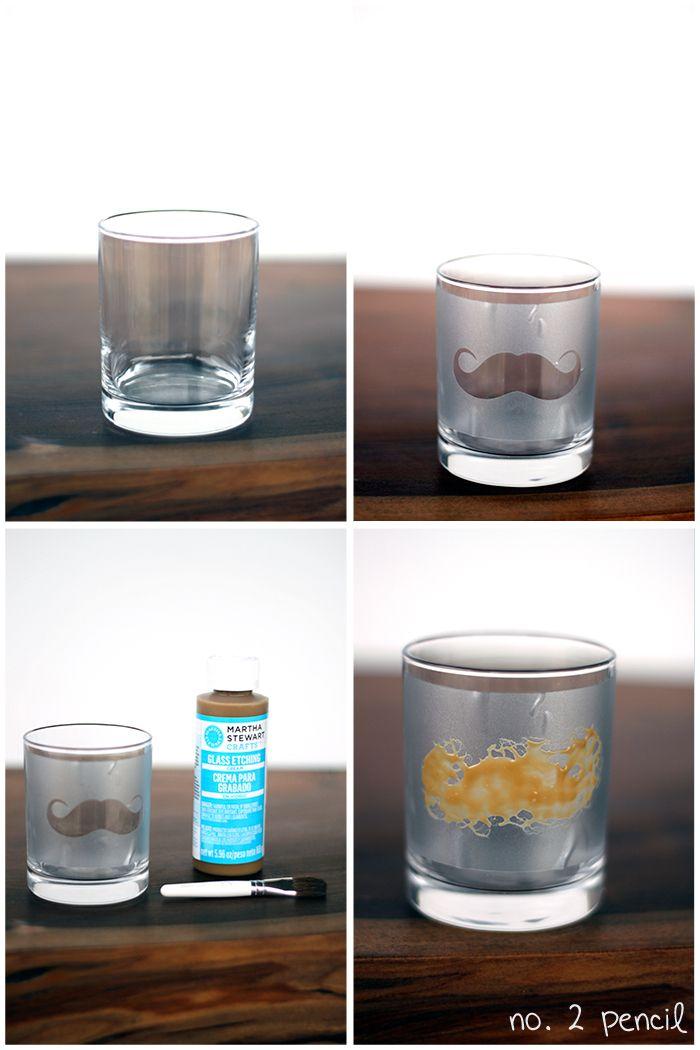 Diy Mustache Glass With Martha Stewart Glass Etching Cream Diy Glass Bottle Crafts Glass