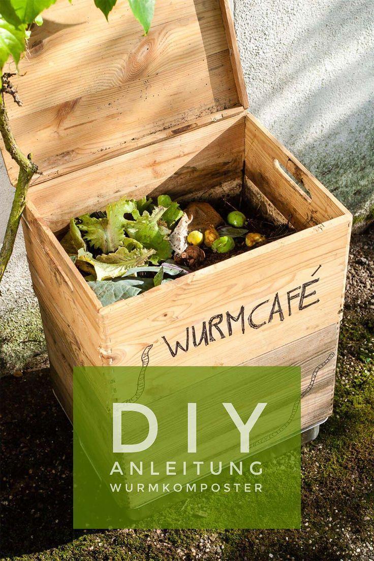 DIY Anleitung zum Bau eines Wurmkomposters. Eine Wurmfarm oder ein Wurmcafe ist schnell gebaut und erzeugt wertvollen Wurmkompost für den Garten. #wurmfarm #wurmkompost #wurmcafe #wurmkomposter #garten #nachhaltig #diygarten #diy #zerowaste #compost