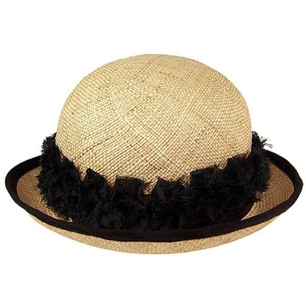 1467efd664141 Justine Hats Straw Cloche Hat With Black Flowers ( 120) ❤ liked on Polyvore  featuring accessories