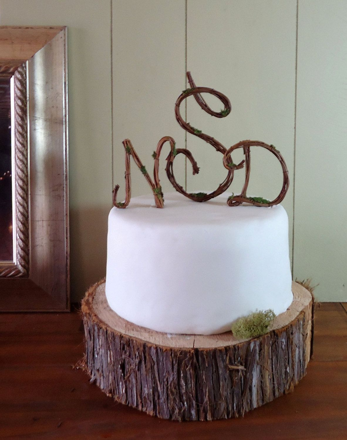 Wedding cake topper rustic grapevine monogram script any