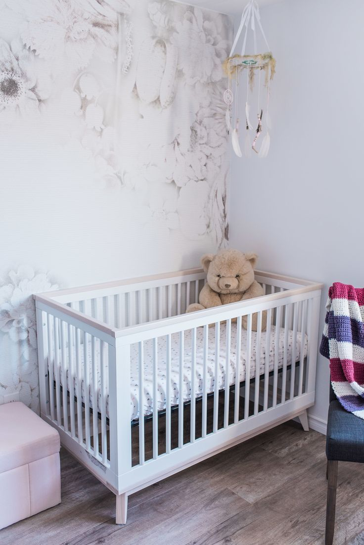 Baby nursery babyletto crib for baby girl's room with vintage floral accent wall decal. Nursery design by Bourbon & Bloom, Photography by Emma. - -