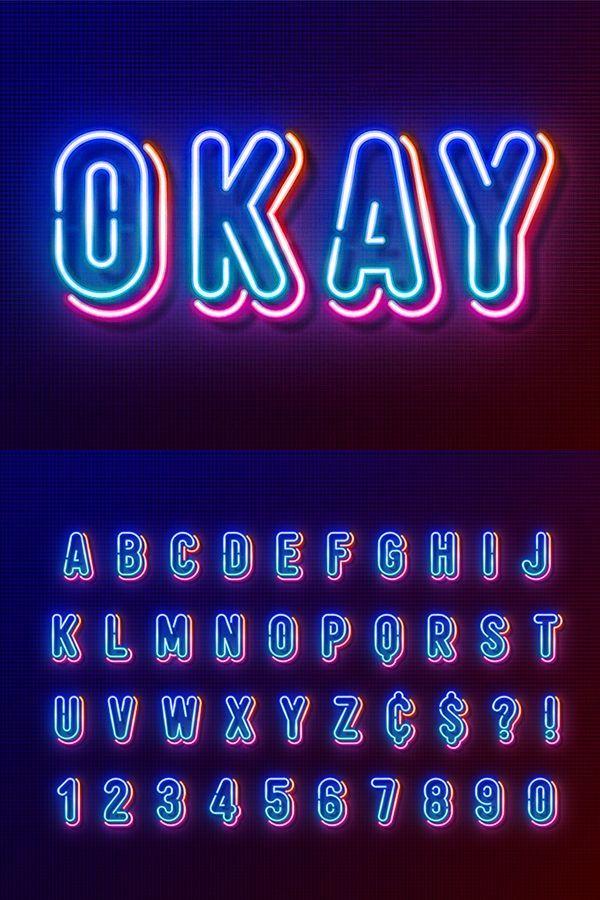 Multicolored Neon Light Alphabet Neon Design Neon Signs Sign Fonts