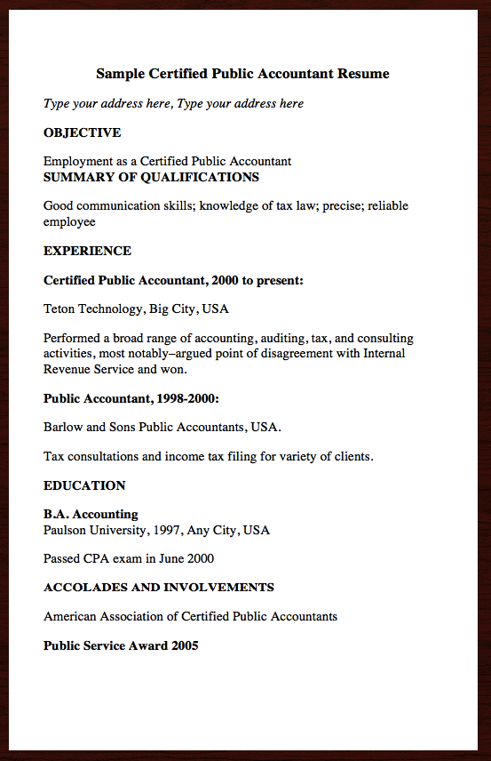 Here Goes Free Resume Example Of Certified Public Accountant