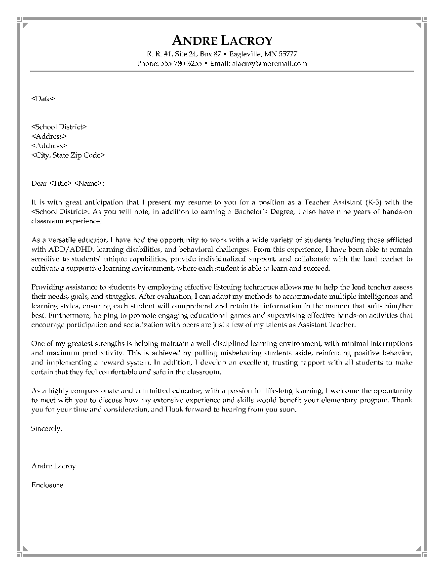 Cover Letter Example Of A Teacher Resume   Http://www.resumecareer.  The Cover Letter