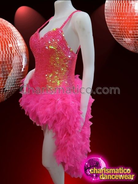 b58bdbd4b Charismatico Dancewear Store - CHARISMATICO Iridescent Pink Sequin Dress  With Boa Feather Tail Skirt Costume,