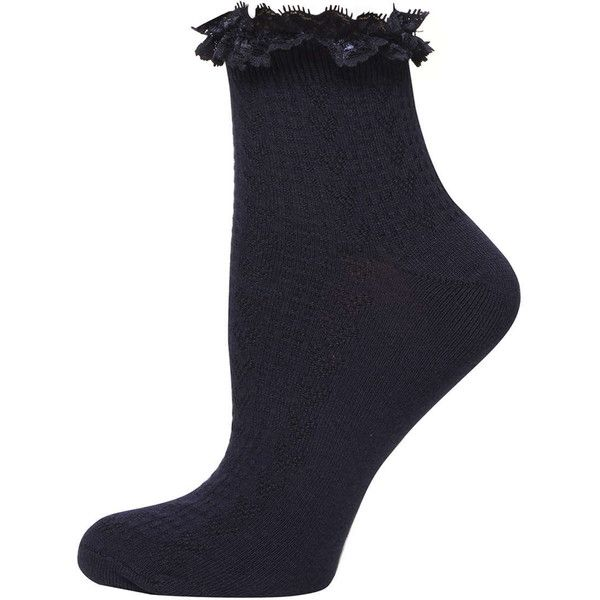 Dorothy Perkins Navy and White Lace Top Socks ($4.02) ❤ liked on Polyvore featuring intimates, hosiery, socks, blue, blue socks, lacy socks, lace socks, tennis socks and dorothy perkins