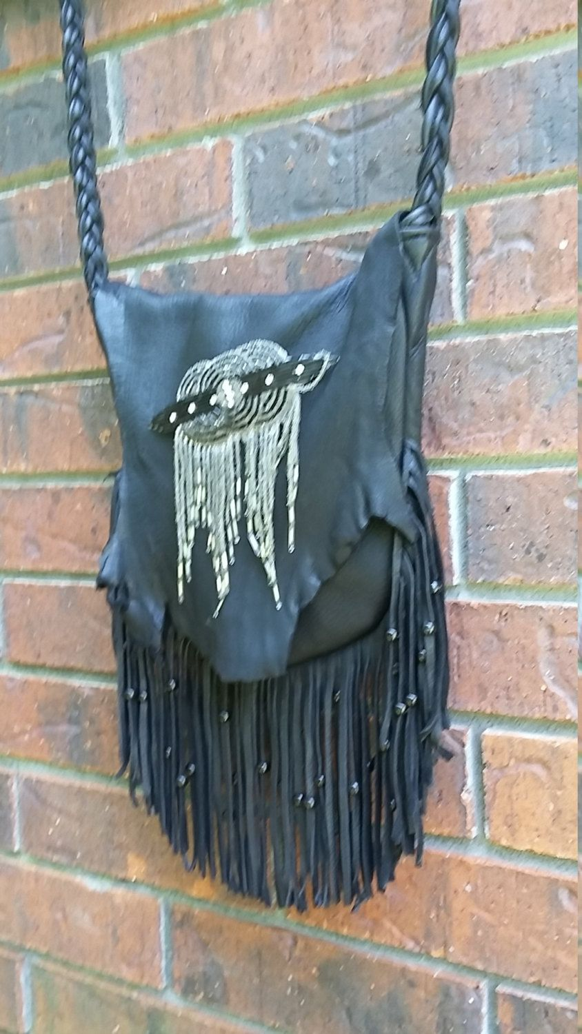 Black deer skin leather purse bohohippiestyle by