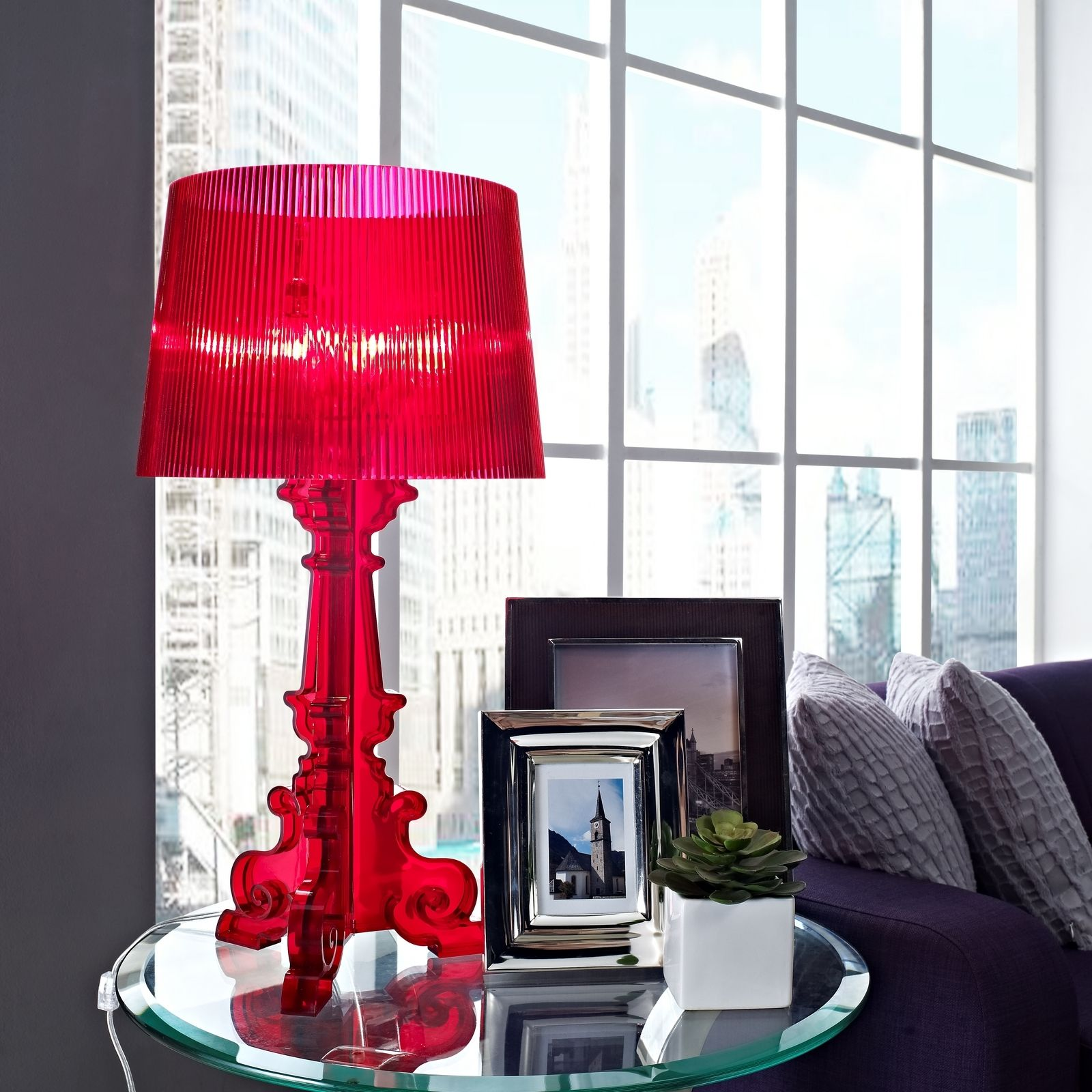 Red French Acrylic Table Lamp Table lamp, Red table lamp