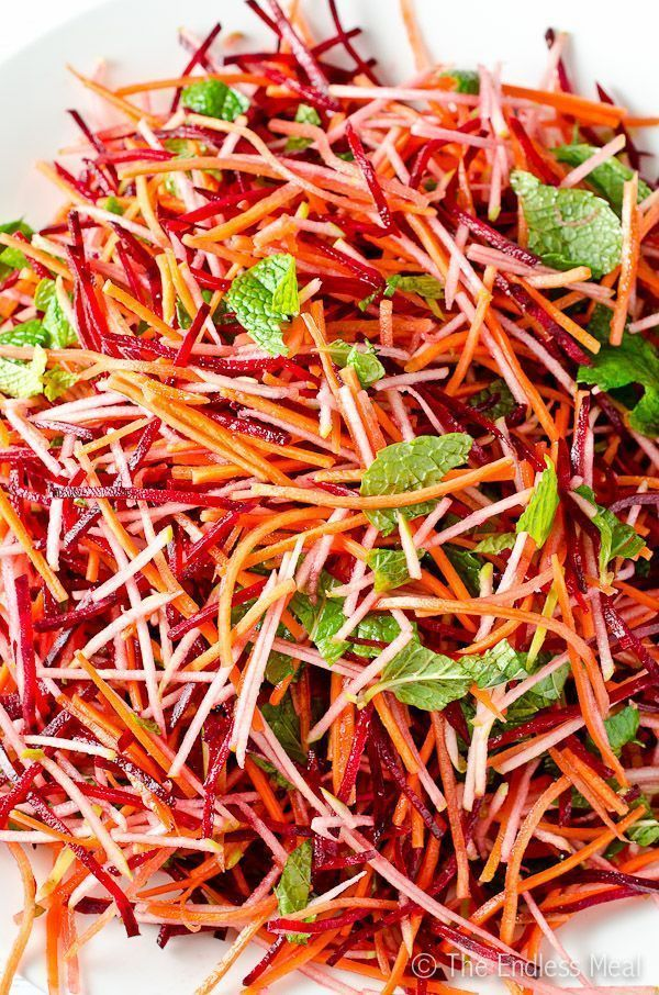 Carrot Beet and Apple Salad with Mint and Cumin Vi