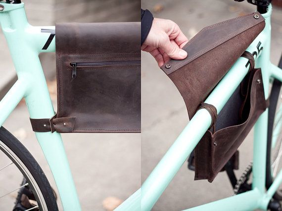 Leather Bike Frame Bag Dark Chocolate Brown $80.00 this would look awesome on my new porter