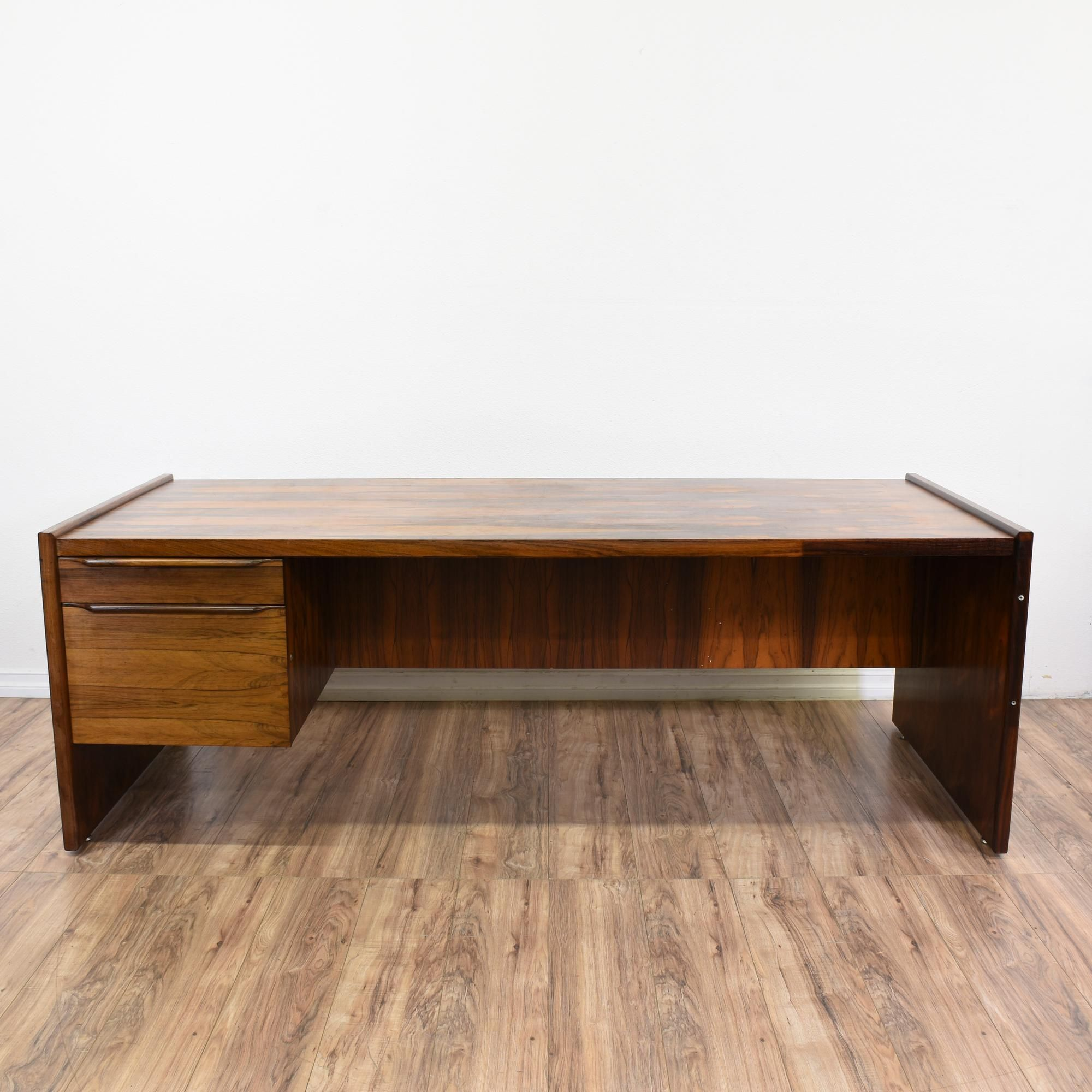 This Mid Century Modern Writing Desk Is Featured In A Solid Wood