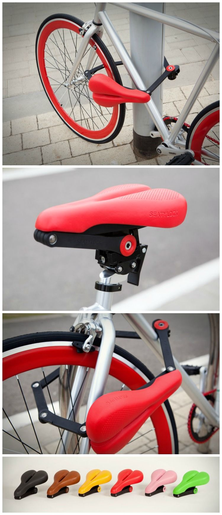 The Seatylock is a bicycle saddle that transforms into a solid lock and back again. Never worry about the possibility of bike theft again. #cycling #biking