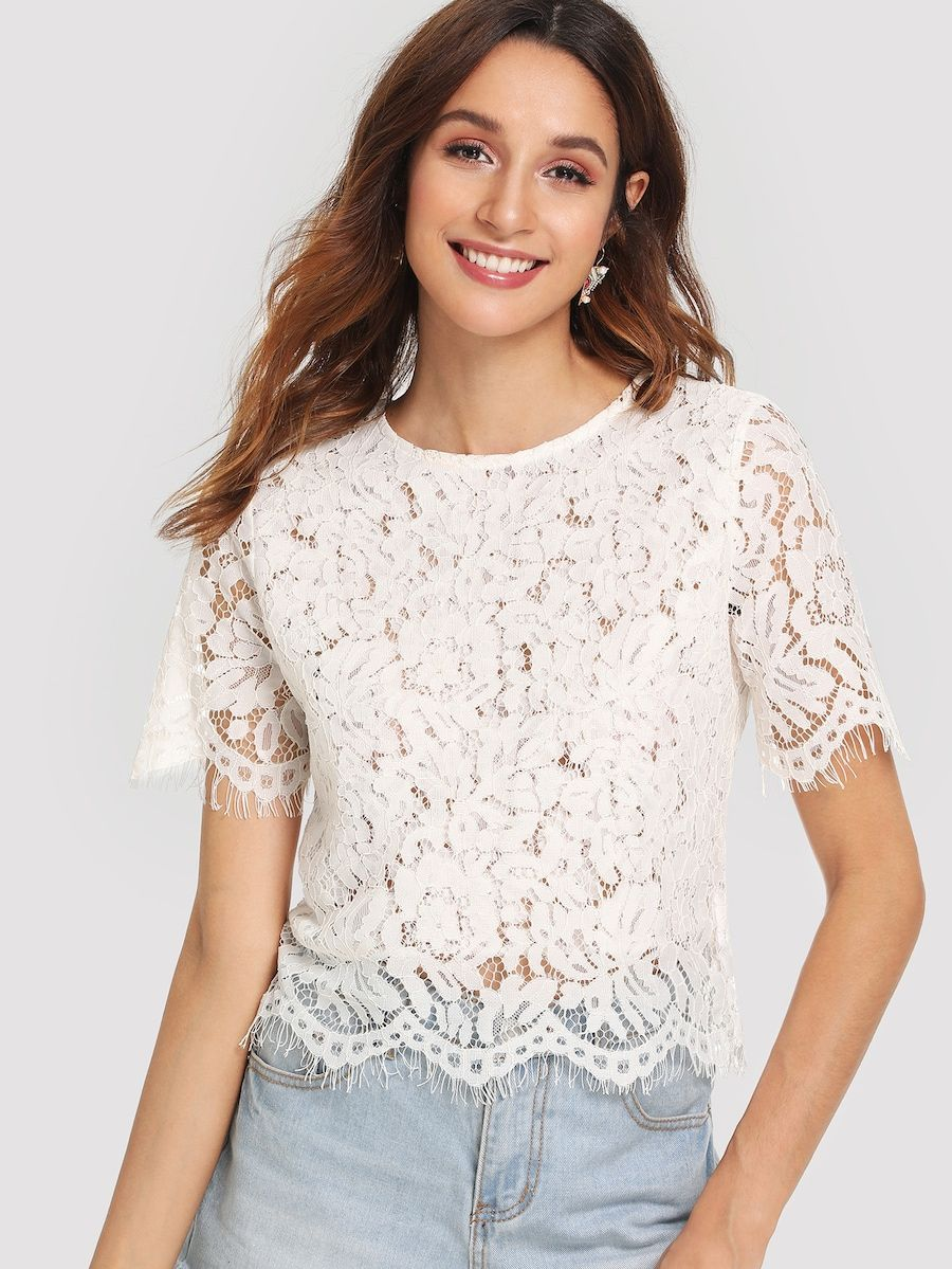 495856658d Eyelash Lace Crop Top -SheIn(Sheinside) | wedding BRIDESMAIDS in ...