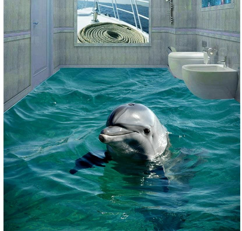 3d sea beach floor dolphin 3d wall murals wallpaper floor for Dolphin wall mural