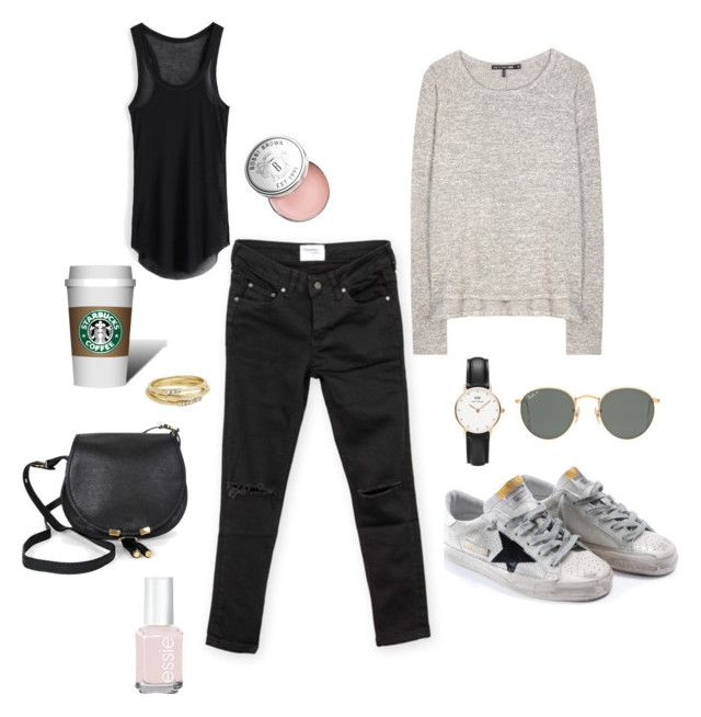 """Morning coffee"" by seekingmabel on Polyvore featuring Daniel Wellington, Chloé, Golden Goose, rag & bone, Ray-Ban, Zadig & Voltaire, Jules Smith, Essie and Bobbi Brown Cosmetics"