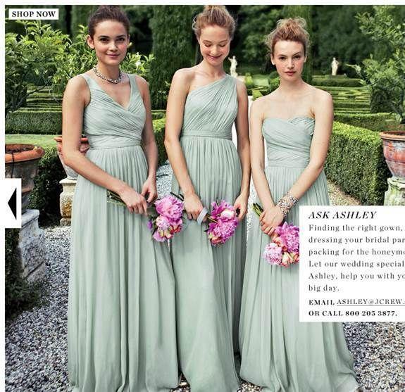 J.Crew Bridesmaid Long Heidi Dress, Dusty Shale/ Seafoam Green ...