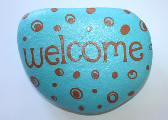 Welcome Garden Stone (Light blue and brown)