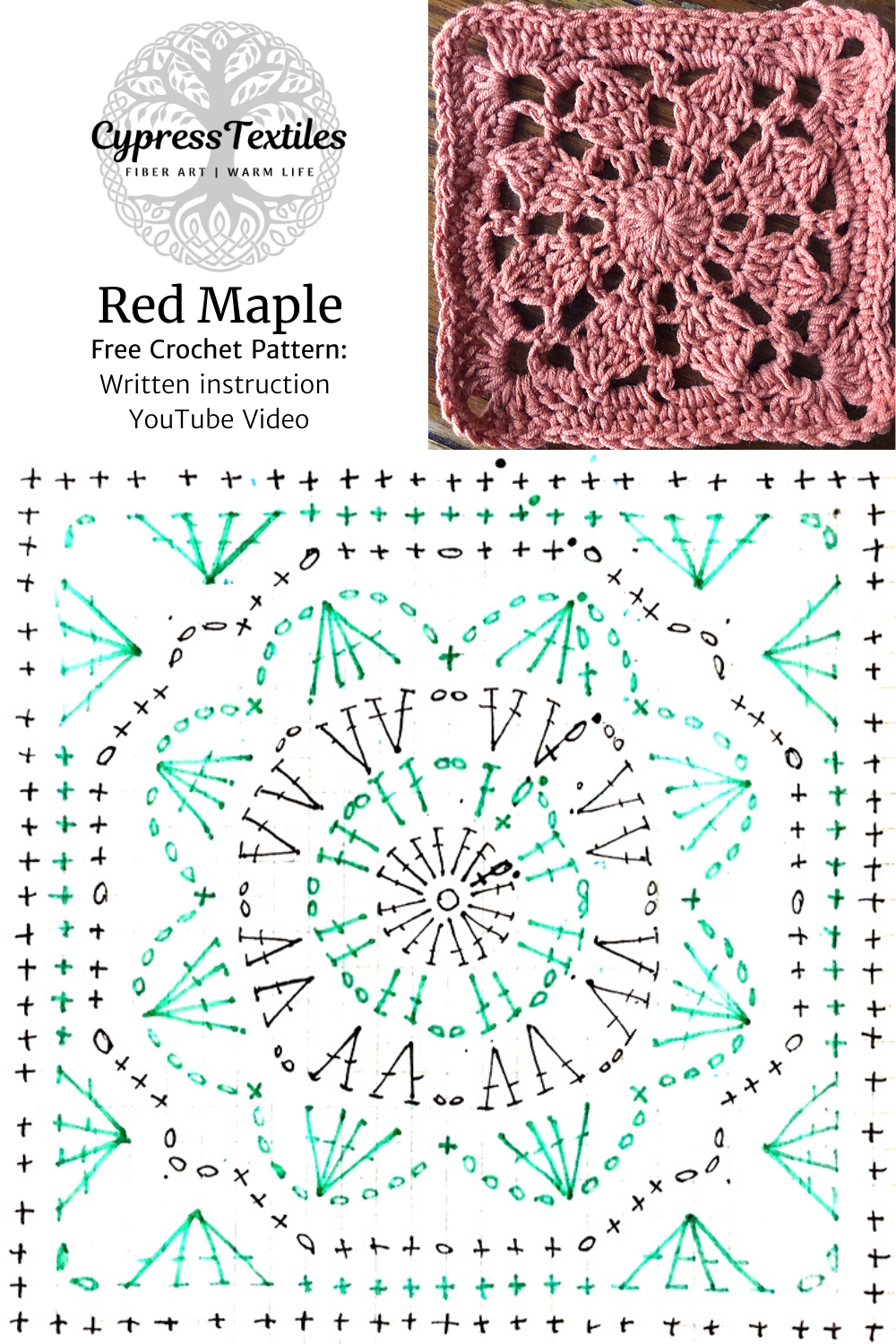 Crochet Motif: Red Maple Square