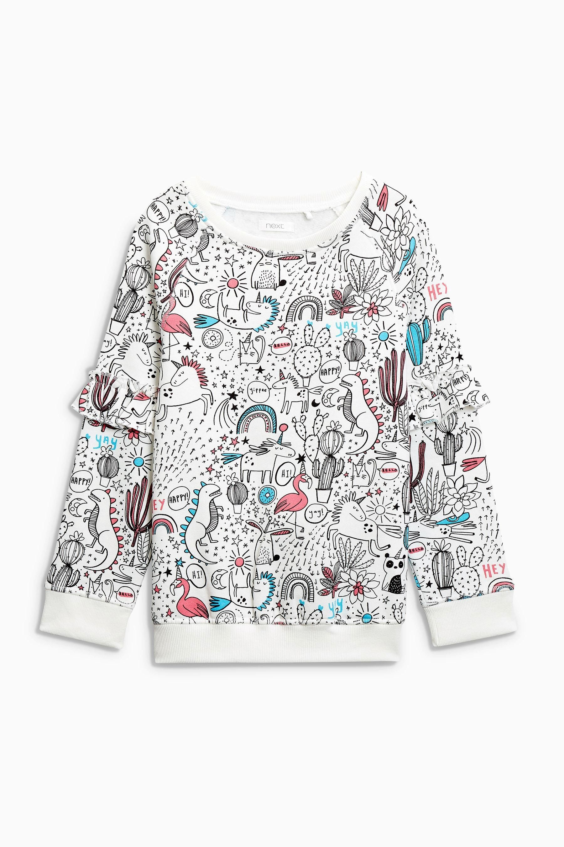9fbd88cbae24 Buy White All-Over-Print Ruffle Sleeve Crew Neck Sweat (3-16yrs ...