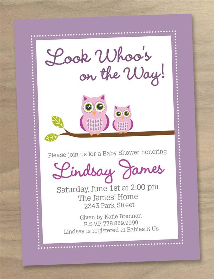 Baby Shower Invitation - Pink Purple Baby Girl Cute Modern Two Owls ...