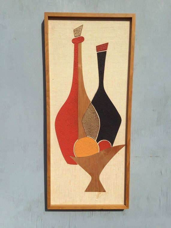 Mid Century Wall Art Abstract Picture Bottles Teak by Space87 | DIY ...