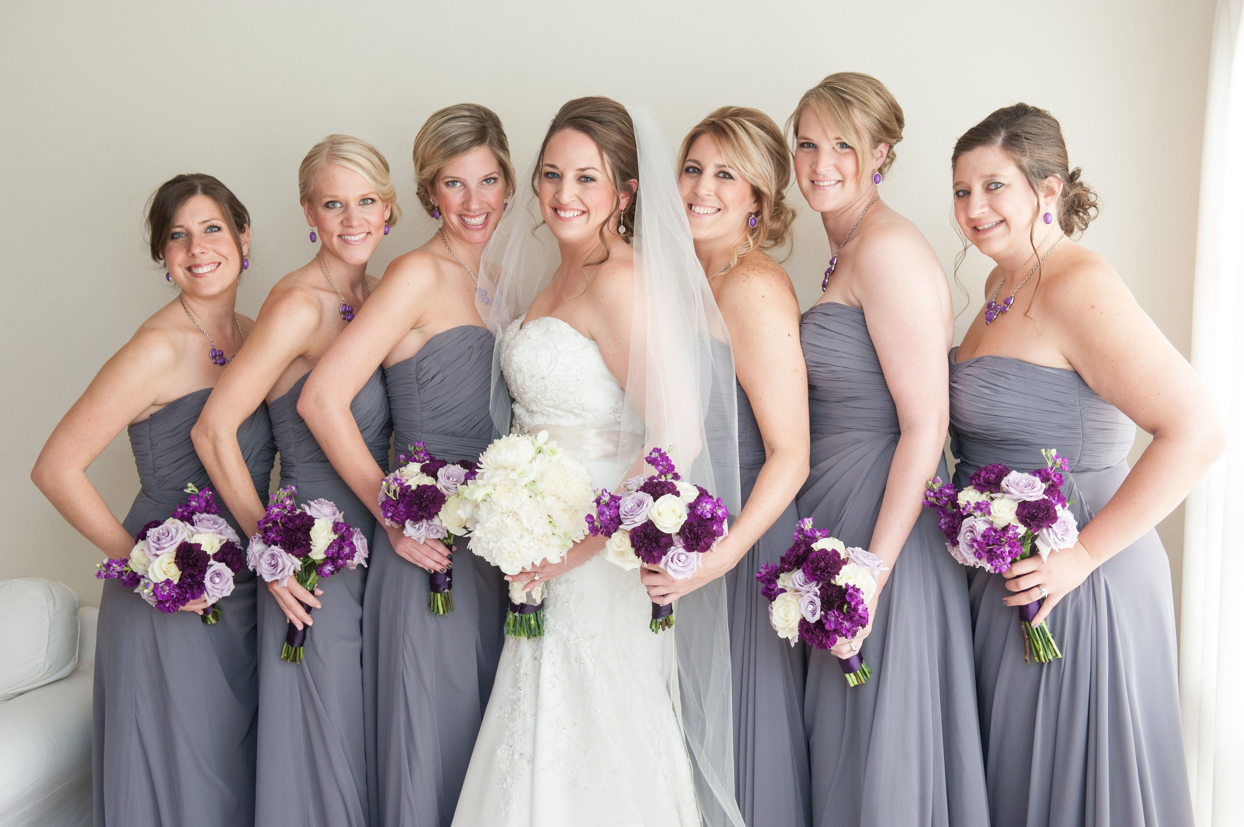 Chicago Wedding | Hair and Makeup | Jenny Taylor Hair and Makeup |  Wedding Party Pictures | Grey Bridemaid Dress | White Wedding | #BombShellBride #JennyTaylorBride | Hollywood Glam