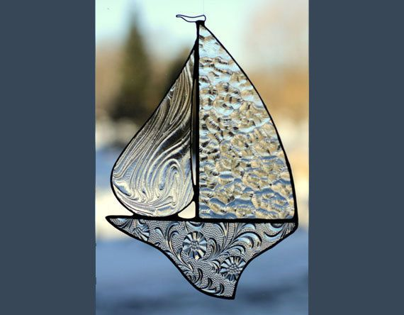 Textured Clears  Stained Glass Sail Boat by NorthernHorizons, $32.00