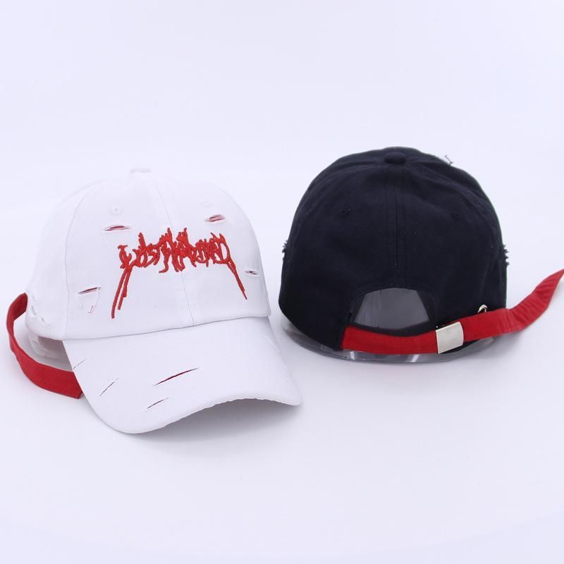 Women Mens Washed Embroidery Holes Curved Brim Snapback Baseball ...