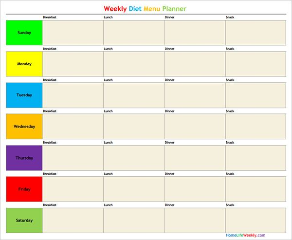 Weekly Diet Menu Planner Template | Salegoods | Pinterest | Menu