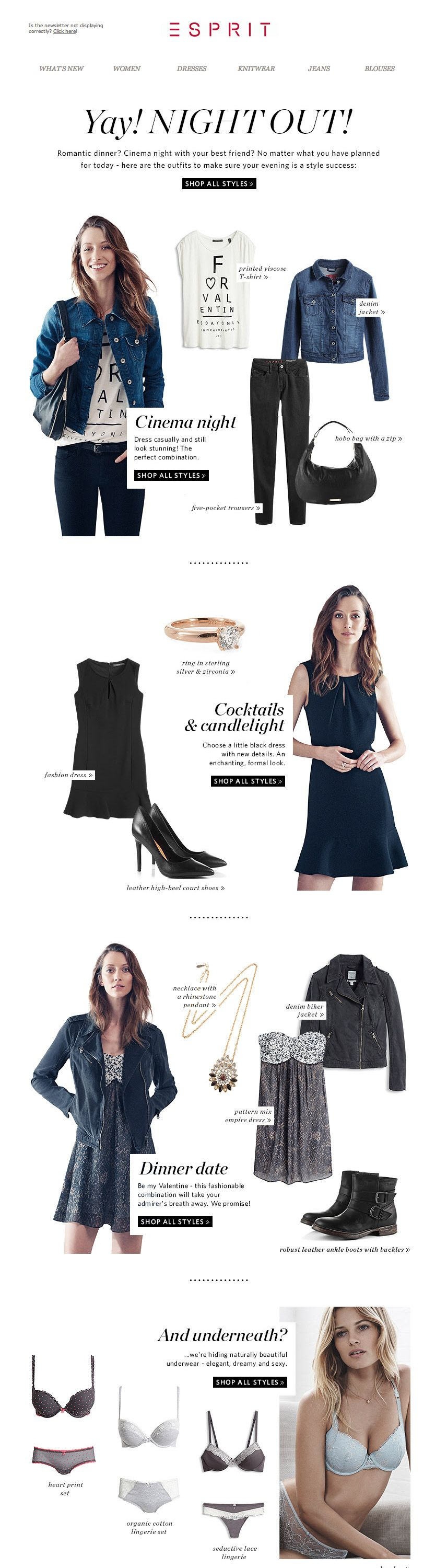 #newsletter Esprit 02.2014 Night out style || 70% SALE: maximum reductions!