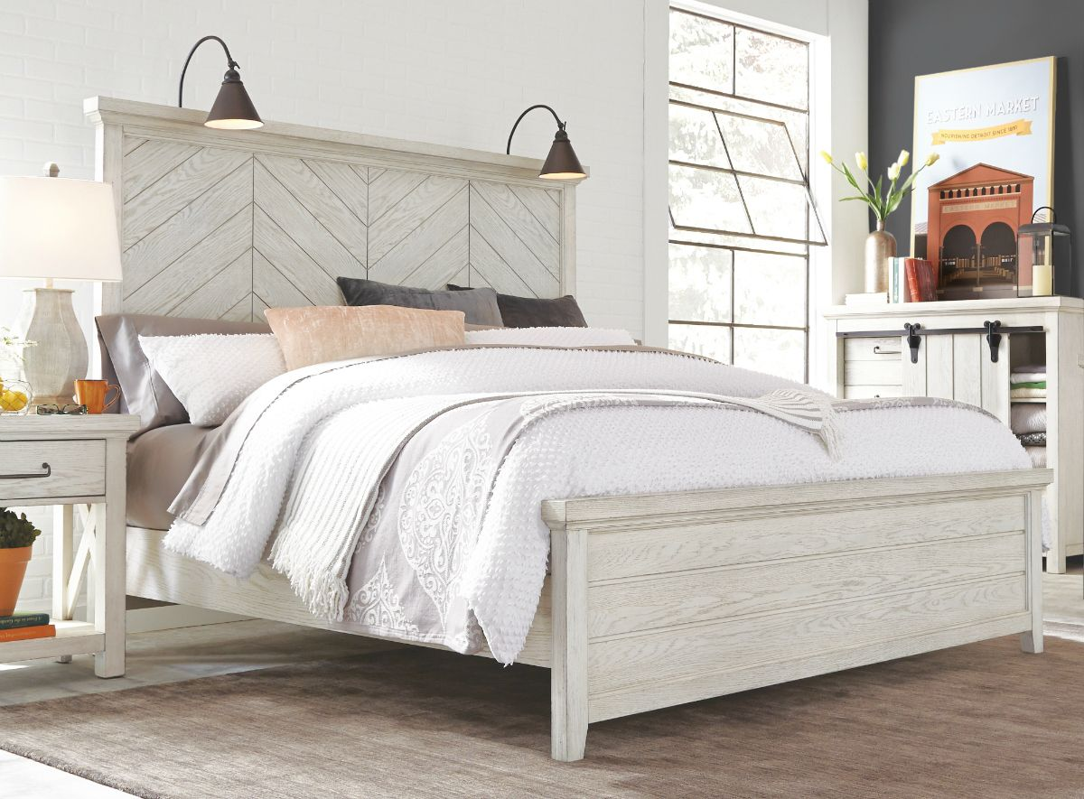 Bring Farmhouse Style To Your Bedroom Decor With This White Queen Bed The Whitewashed Panel Headboard White Queen Bed Bed Frame And Headboard White Bed Frame