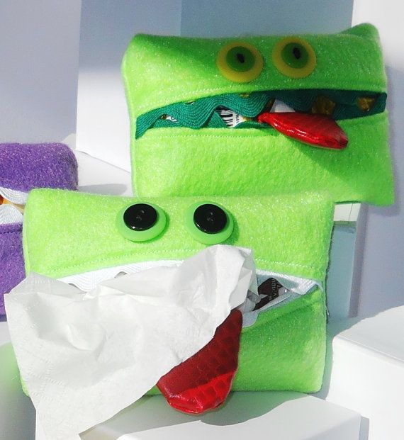 """""""Kleenex Kreatures"""" hold your tissues in a purse or pocket. SUPER CUTE"""