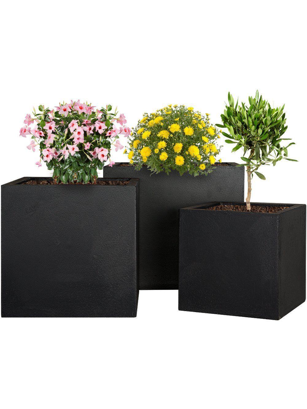 pflanzwerk pflanzk bel fiberglas cube anthrazit 3er set 23cm 28cm 34cm frostbest ndig uv. Black Bedroom Furniture Sets. Home Design Ideas