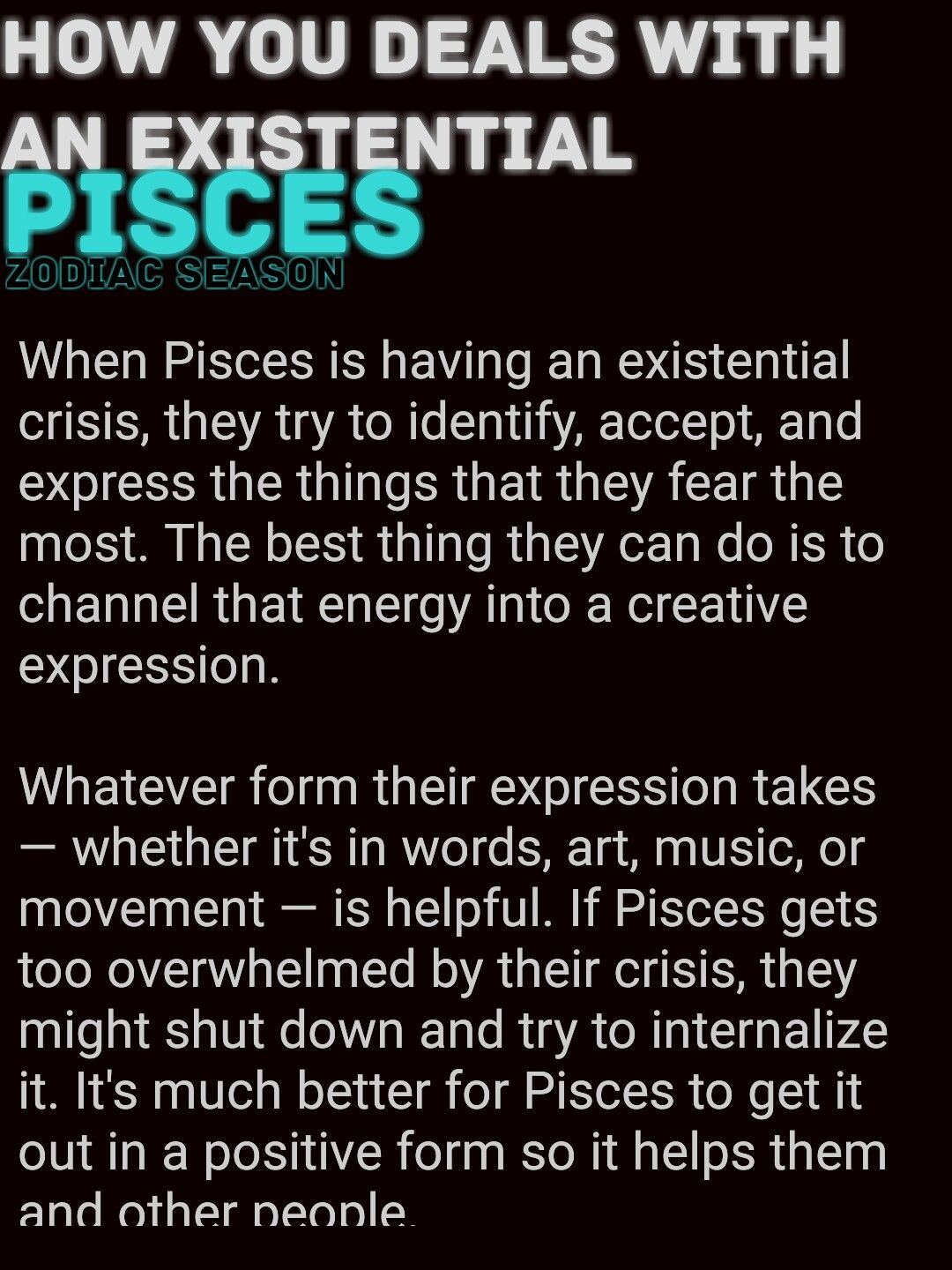 How you Deals With An Existential Crisis #Pisces | PISCES