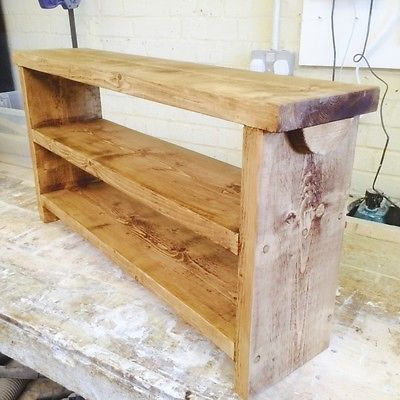 Handcrafted British Made Solid Wooden Bench / Pew With Double Shoe ...