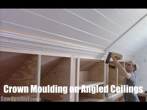 Crown Moulding On Angled Ceiling Sawdust Girl Attic Renovation Angled Ceilings Attic Remodel