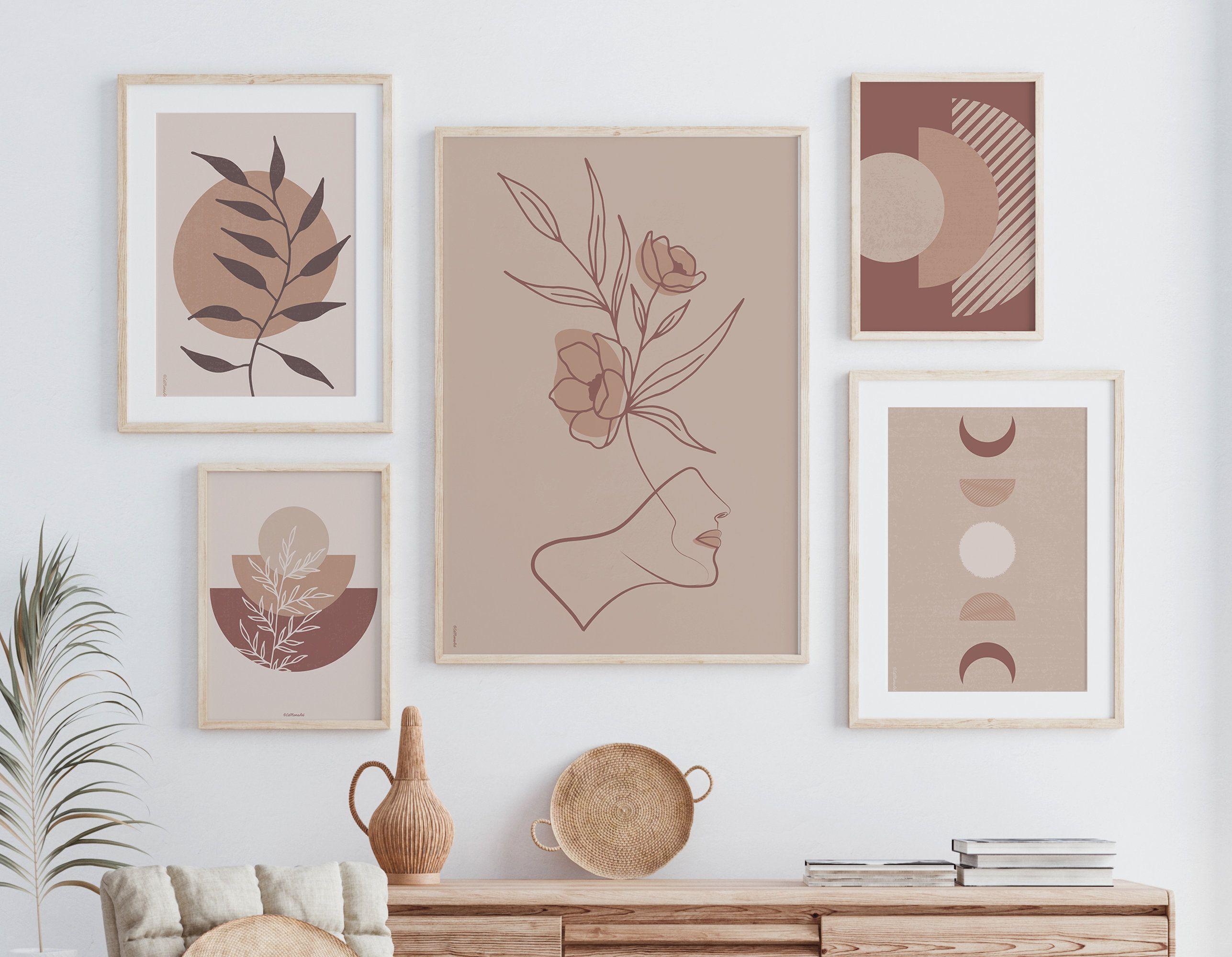 Digital Downloads Neutral Decor Pink and Beige Print Boho Wall Print Boho Leopard Print