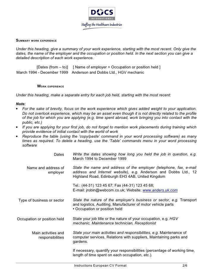 European Curriculum Vitae Format Modelos de curriculum