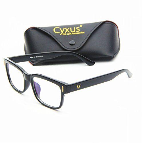 Cyxus Blue Light Filter [Better Sleep] Block UV Transparent Lens Black Frame Vintage Glasses, Anti Glare Fatigue Blocking Headaches… #deals