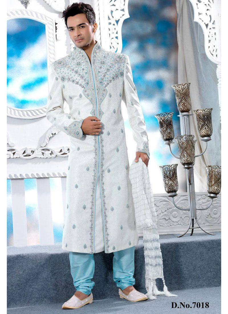 Off White color self designed brocade Wedding wear sherwani Shop Now ...
