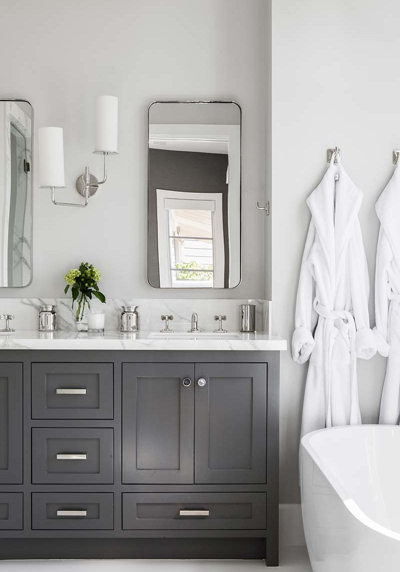 Wall Color With Grey Bathroom Cabinets