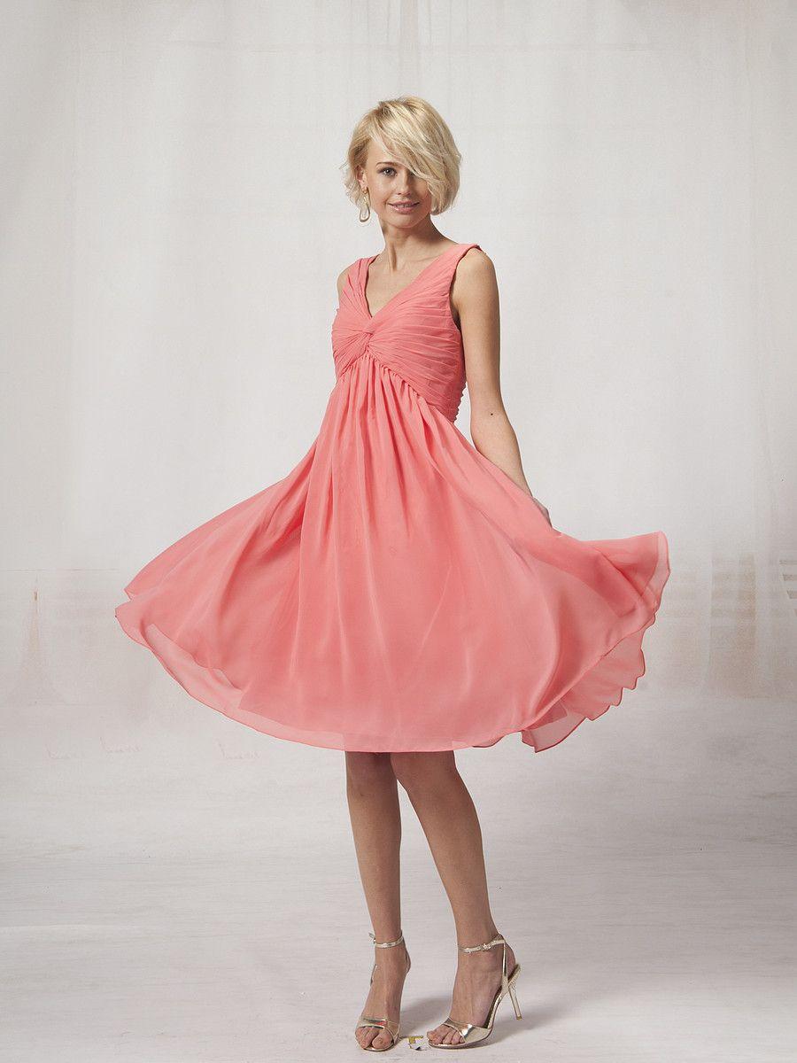 V Neck Chiffon Bridesmaid Dress with Beaded Bodice | IDEAS ETY ...